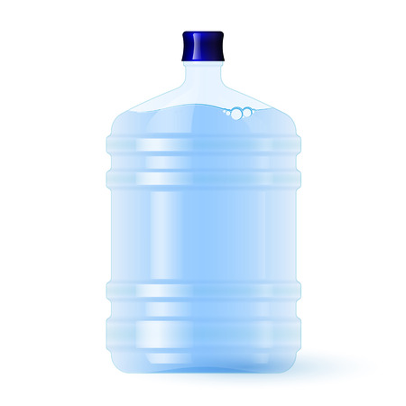 Botella de plástico grande con agua. Volumen cinco galones. Manantial limpio o agua purificada Ilustración de vector
