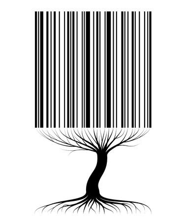 Abstract tree contour with roots and branches similar to a barcode. For an article on sales, business or ecology Ilustração