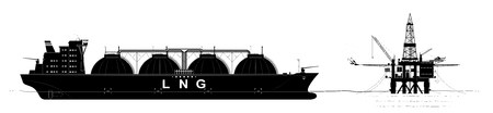 Oil or gas platform in the ocean and a tanker for the transport of liquefied gas. Black contour with a large number of parts