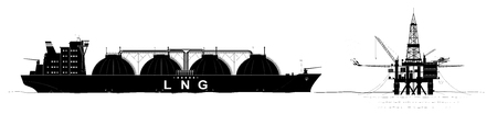 Oil or gas platform in the ocean and a tanker for the transport of liquefied gas. Black contour with a large number of parts Vektoros illusztráció