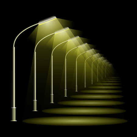 A row of street lamps in perspective. Black night background and warm light lanterns