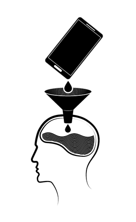 Abstract logo or emblem. Information gets from a mobile phone to a person s brain