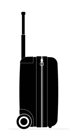 Profile black travel suitcase. Castors and handle for convenience. Travel airfare or vacation.