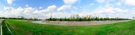 Panorama near the Chernobyl nuclear power plant. The first second third and fourth power units. Arch confinement