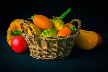 Fresh vegetables lying on a dark table. Cooking recipe
