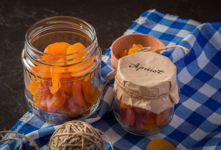 Healthy dried apricot. Procurement for the future. Long storage of vitamin supplements in food