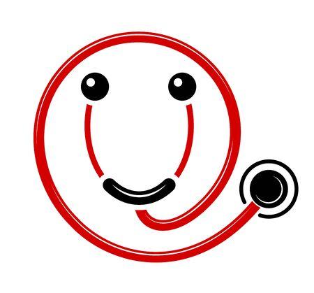 Logo nowoczesnej przyjaznej medycyny. Przyjemna obsługa w szpitalu. Uśmiech w formie stetoskopu. Dobry lekarz.