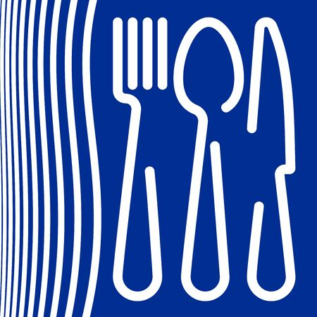 Logo of a cafe or restaurant made of forks, spoons and knives.