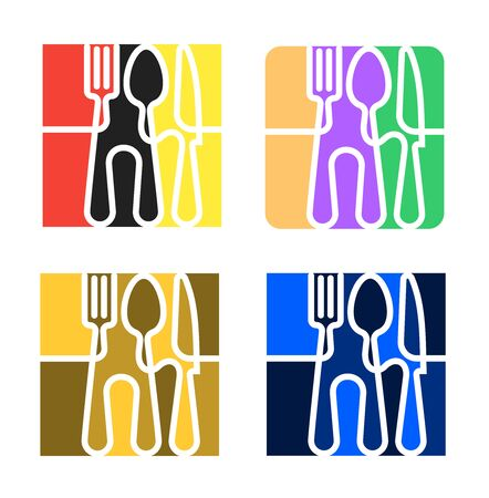 Set of Logo for cafe or restaurant made of forks, spoons and knives.