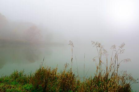 Poranna mgła na jeziorze jesienią. Mistyczna i tajemnicza pogoda. Szary jesień naturalne tło.