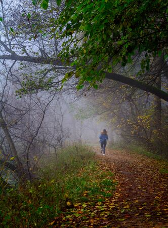 Runner on a morning run in the forest. Autumn weather, damp and low temperature. Fairy or horror wallpaper.
