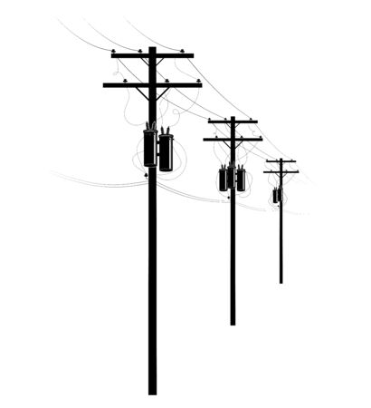Power supply of residential buildings. A row of pillars on the street. Transformers and wires on poles. U.S. street.