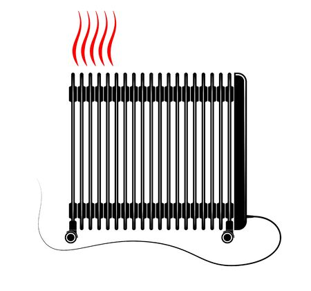 Vector illustration of electric oil heater on white background. Illusztráció