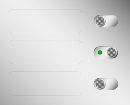 Metal switches or switches. Aluminium control panel. Space for text. Web interface.