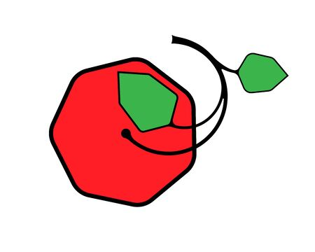 Vector illustration of apple  . Red and green.
