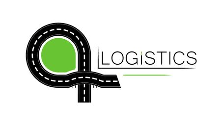 Emlem of a logistics company or road service. road construction. Shipping. Transport interchange.