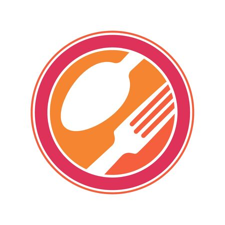 emblem for a restaurant, cafe or diner. Parts of the fork and a spoon in the icon. A simple and modern.