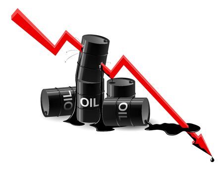 Oil down graphic - vector concept illustration. Fuel catastrophic prices. The global oil and financial crisis infographic.