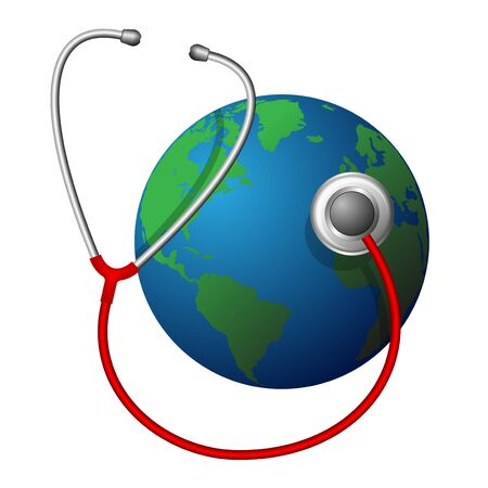 Planet Earth and a red medical phonendoscope. Taking care of our place of residence. Problems of ecology and climate
