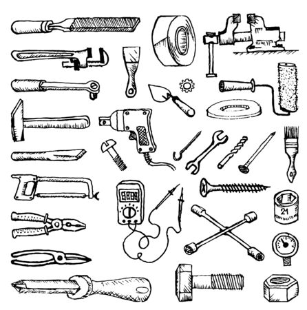 Doodle style images of plumbing and home tools to repair and fix the car. Black white drawing Illusztráció