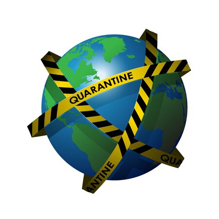 Planet Earth shrouded in ribbons with the inscription quarantine. The spread of the virus around the world. The danger of a pandemic.