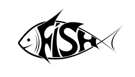 The logo or emblem of the word fish in the shape of fish. Black on white. It is floating to the left. Illusztráció