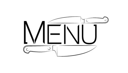 The logo of a cafe or restaurant. logo for menus or throws. Two kitchen knives and a word menu. Illusztráció