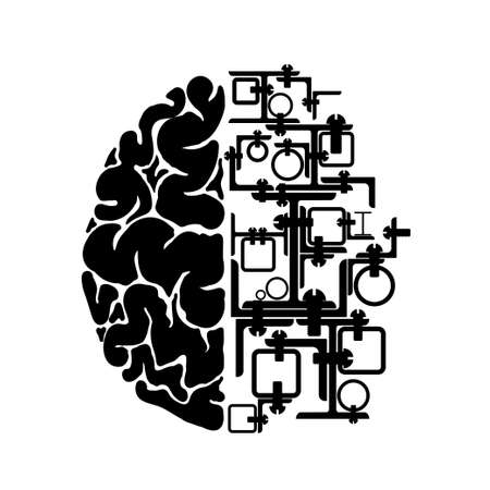 Schematic representation of the human brain. One hemisphere made of rolled metal. Industrial or mechanical logo or emblem
