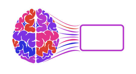 The human brain is multicolored. A frame for text. Logo or logo. Illusztráció