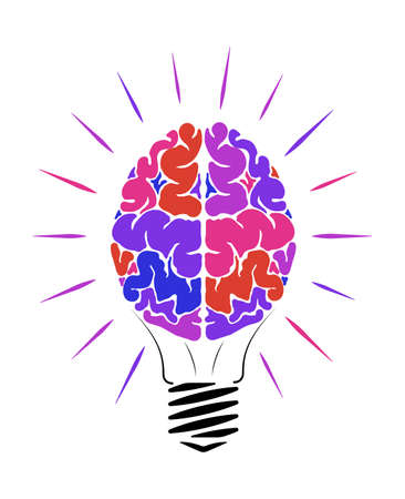 Incandescent lamp in the form of a person brain. The multi-colored human brain. Glow in different directions. Education logo.