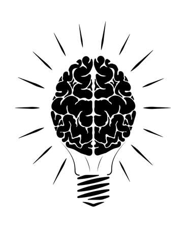 Incandescent lamp in the form of a person brain. The black and white human brain. Glow in different directions. Education logo.