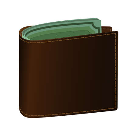 Leather purse brown. Green banknotes are visible in the purse. Logo or icon to pay for goods on the site.