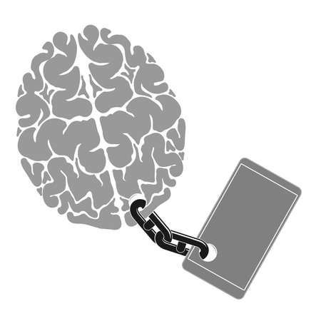 An image of the brain chained to the phone. A person dependence on a gadget or cell phone.