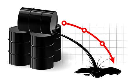 The chart of the fall in the oil price. Black liquid pouring out of the barrel. Very low fuel price.
