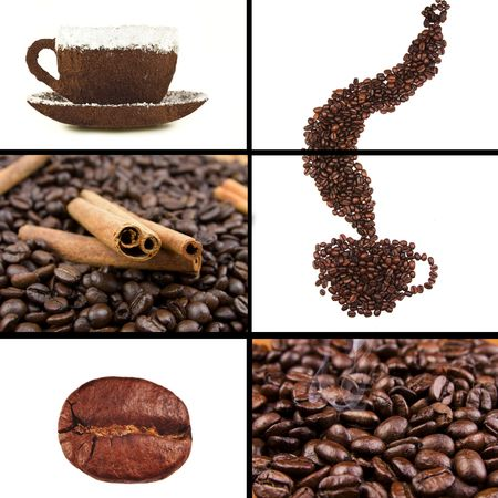 steaming: Coffee collage Stock Photo
