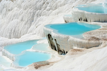 Natural Pamukkale basins full of water photo