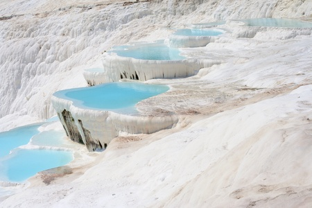 Natural Pamukkale basins full of water Stock Photo