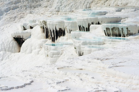 pamuk: Natural Pamukkale basins full of water Stock Photo