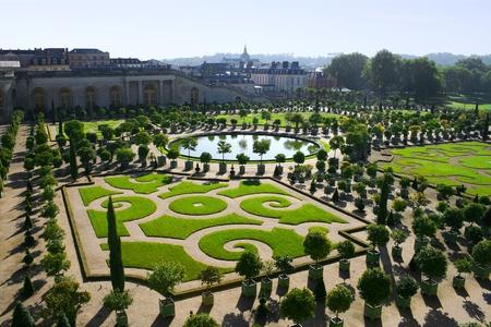 Neatly cut garden in Versailles, Paris Stock Photo