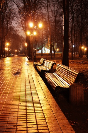 the place is outdoor: Famous Mariinsky park at rainy weather in the evening, Kiev, Ukraine Stock Photo