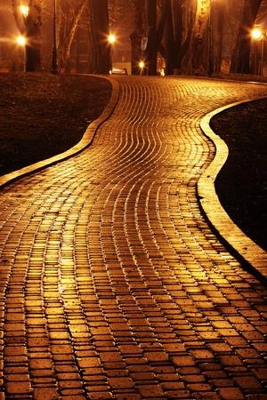 Road to Mariinsky Park at night Stock Photo