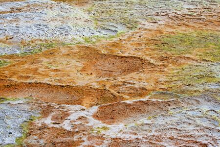 pamuk: Iron deposits on the surface at Pamukkale travertines, Turkey Stock Photo