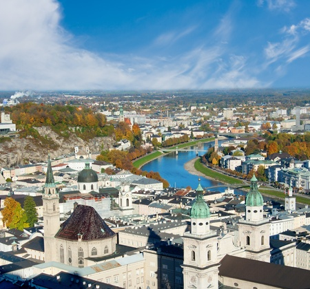 Cityscape of picturesque Salzburg in Autumn, Austria Stock Photo