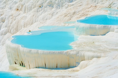 pamuk: Pamukkale travertines near Denizli in Turkey Stock Photo