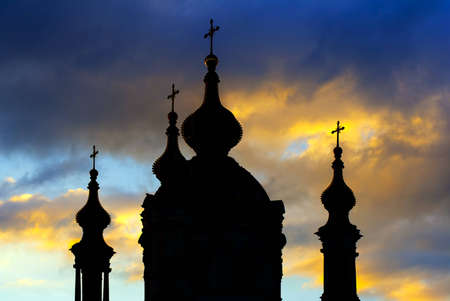 Silhouette of Saint Andrew's cathedral over colorful sunset sky in Kiev, Ukraine Stock Photo - 12851587