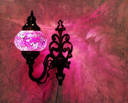 Turkish handmade pink lamp on the wall Stock Photo - 12851664