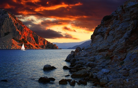 Fiery cloudy weather in the harbor of Marmaris, Turkey