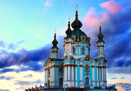 Saint Andrew's cathedral over colorful sunset sky in Kiev, Ukraine  Stock Photo - 12986055