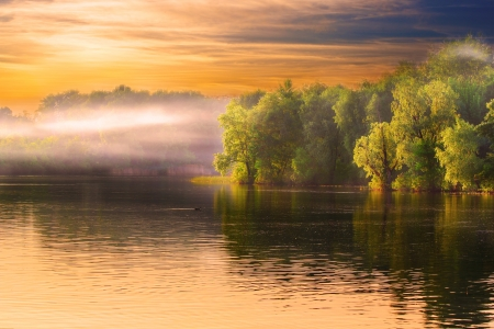 Evening Dnieper river covered with haze Stock Photo - 13617347