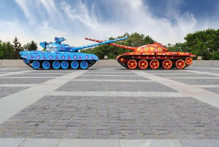Famous painted tanks in Kiev near Mother Motherland statue Stock Photo - 13748889